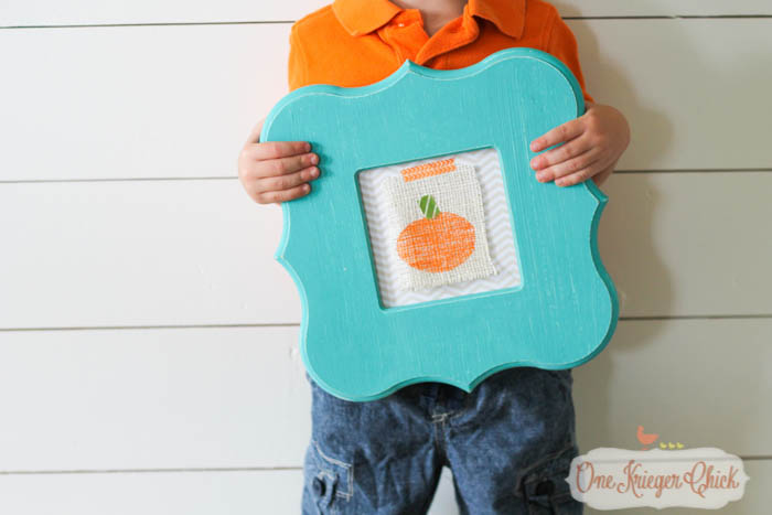 Kids Stamping Craft turned into Pumpkin Print Art- Fun kid-made Fall decor!-2- OneKriegerChick