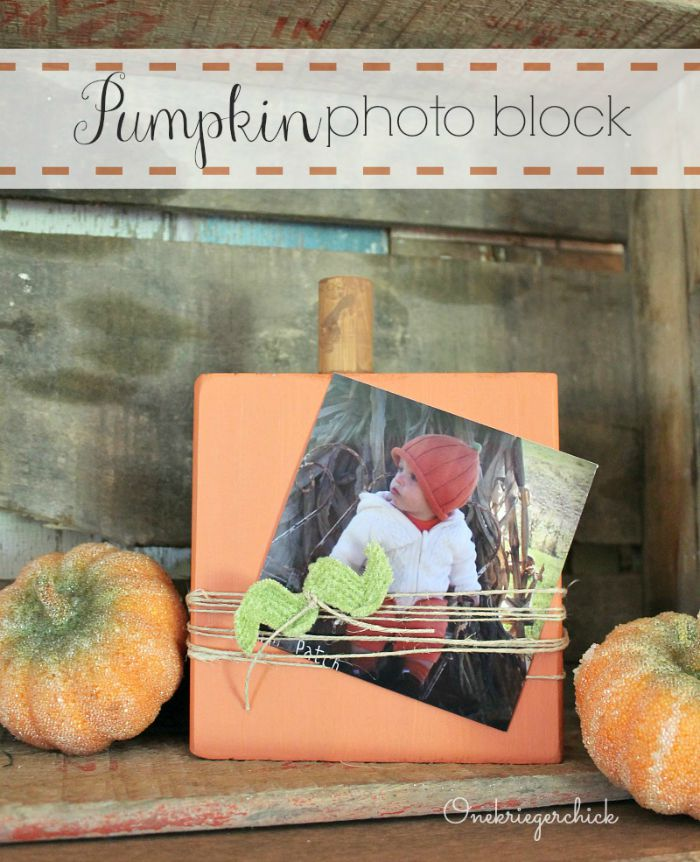 Pumpkin photo block...What a cute way to display photos! OneKriegerChick.com