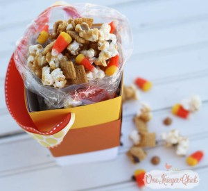 Caramel Popcorn Party Mix in a Candy Corn Popcorn Box...So cute! What a fun treat for a friend, teacher, neighbor or a movie night at home-3 -OneKriegerChick
