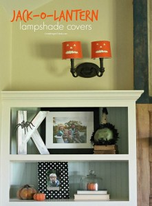 Make these Jack-O-Lantern lampshade covers for quick and easy Halloween Decor-OneKriegerChick