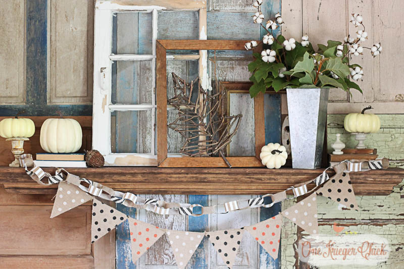 Rustic Neutral Fall Mantel on  a background of old doors-OneKriegerChick.com