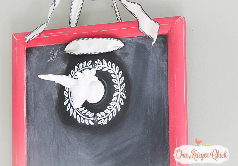 Festive Deer and Wreath Chalkboard- so many possibilities for the holidays! Make it now and use it for years to come! OneKriegerChick.com