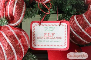 How to make an Elf Surveillance sign with Core'dinations Glitter Paper-another way to make the holidays sparkle! OneKriegerChick.com