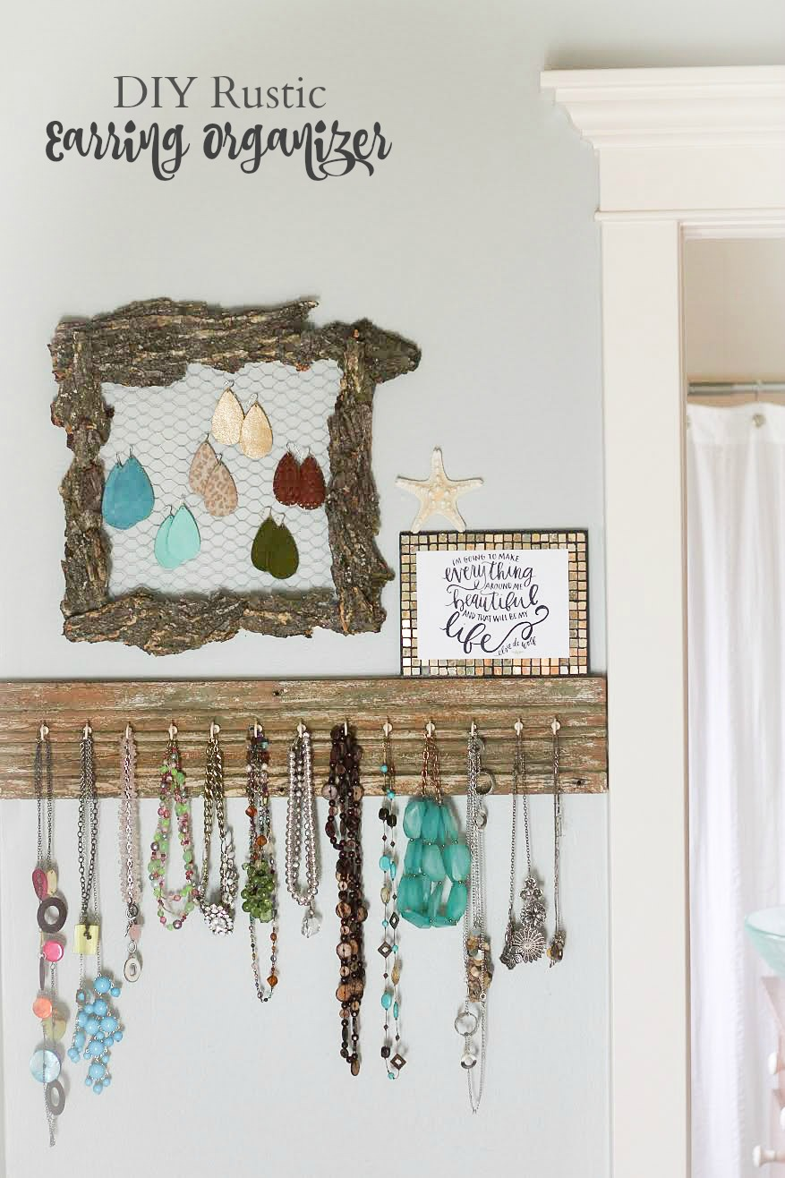 Make your own Rustic Earring Organizer with the new Elmers less mess glue gun!  So Amazing!