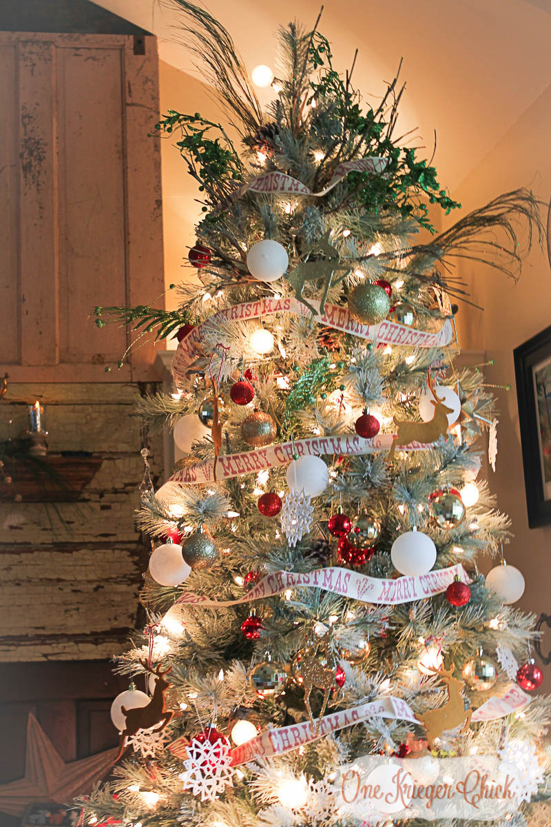 Red, White, and Sparkle Christmas Tree-OneKriegerChick Holiday Home Tour