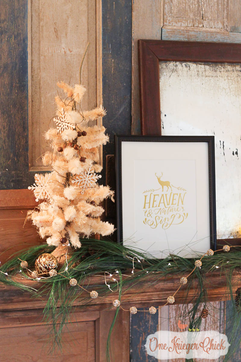 Simple Classic Mantel 2015- OneKriegerChick.com Holiday Home Tour