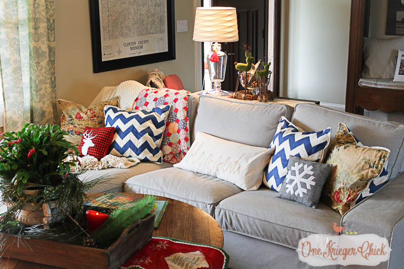 Warm and welcoming Christmas Living Room- OneKriegerChick Home Tour