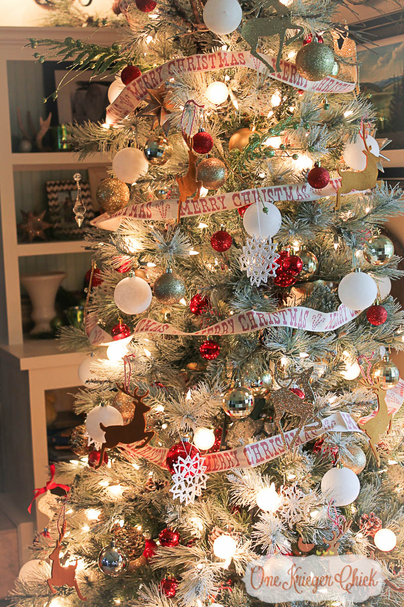 Woodland Sparkle Christmas Tree-OneKriegerChick Holiday Home Tour