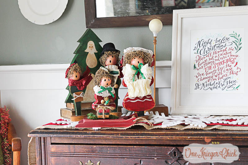 Holiday Dining Room with vintage carolers 2-OneKriegerChick Home Tour