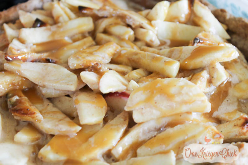 Sour Cream Caramel Apple Pie- The most delicious bite you will eat all season! OneKriegerChick.com