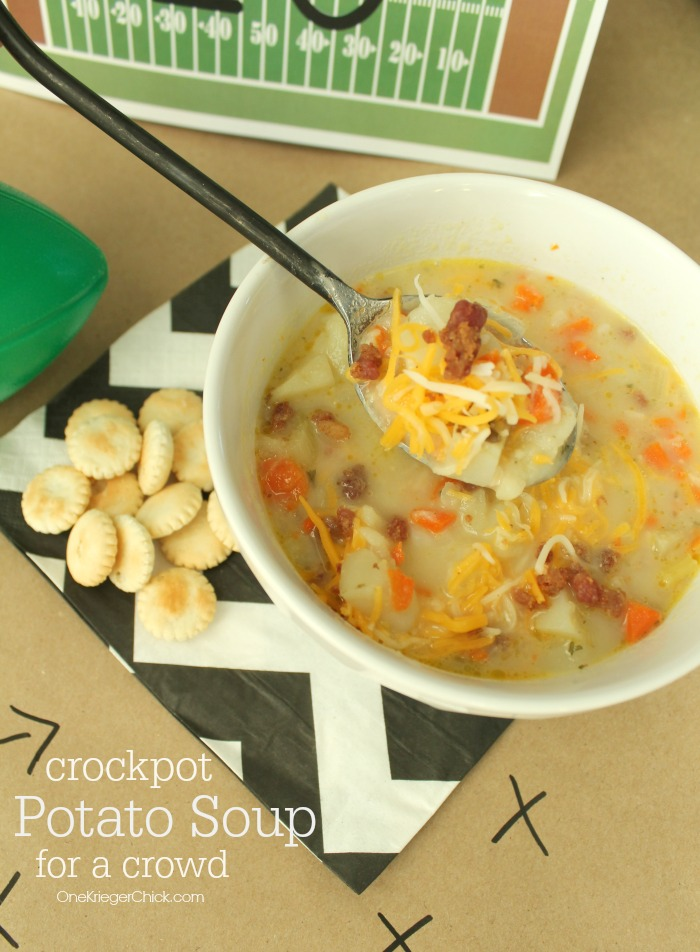 Delicious Potato Soup made in a crockpot- perfect for a party! OneKriegerchick.com