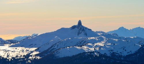 View of the Black Tusk from the top of the Peak Chair, Whistler Mountain.
