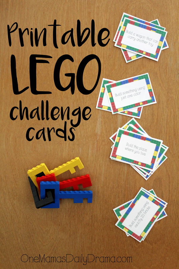 Printable LEGO challenge card game for all ages