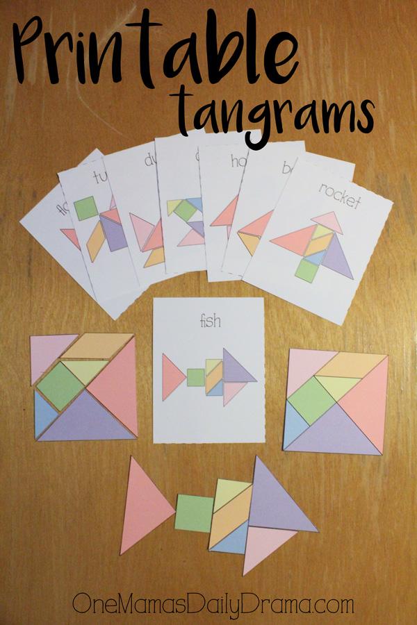 Printable tangrams and challenge cards
