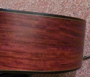 Martin Custom CEO-7 cocbolo side closeup at Mandolin Brothers