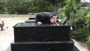 David at gravesite 3