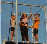 Woman gets ready to fly on trapeze