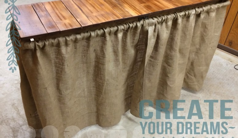 Simple DIY  Barnwood table w/burlap curtains