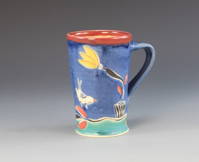 mug with bird, flower pot, &dragonfly view1