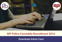 MP Police Admit Card 2016 Download MPPEB Call Letter