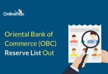 Oriental Bank of Commerce (OBC) Reserve List Out: Check Here