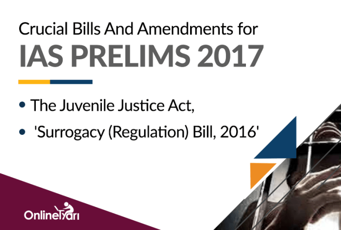 Crucial Bills And Amendments for IAS Prelims 2017: The Juvenile Justice Act, 'Surrogacy (Regulation) Bill, 2016'