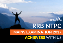 RRB NTPC Mains Examination 2017: Achievers with Us