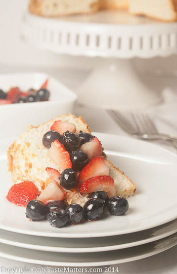 Light as a Cloud #AngelFood #Cake with Berry Topping. Finally a truly airy #glutenFree angel food cake! For the #recipe, visit OnlyTasteMatters.com.