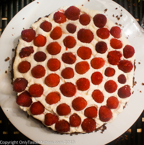 Assembling Flourless Chocolate Almond Torte with Raspberries and White Chocolate Whipped Cream #gfree