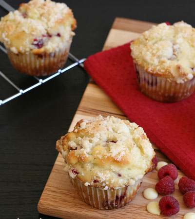 Gluten-Free White Chocolate Raspberry Muffins with Almond Streusel Topping
