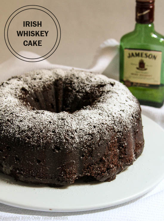 Chocolate Irish Whiskey Cake. So light. So chocolaty. You'd never guess it is gluten free! OnlyTasteMatters.com