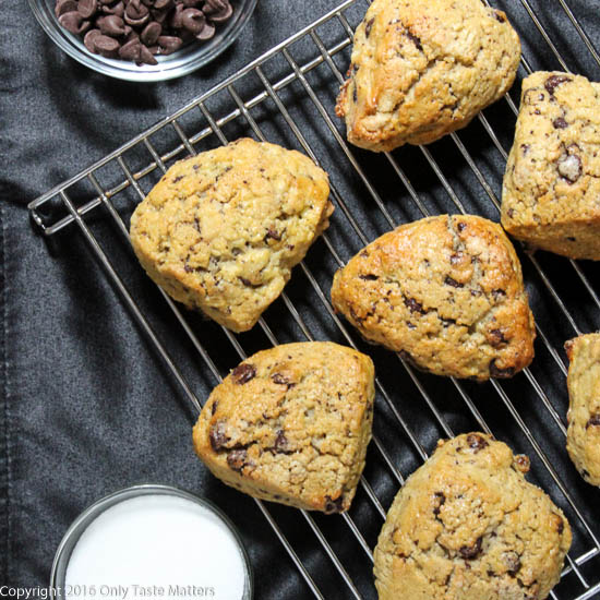 Gluten-Free Chocolate Chip Scones for a GF Mother's Day afternoon tea or brunch.   Only Taste Matters