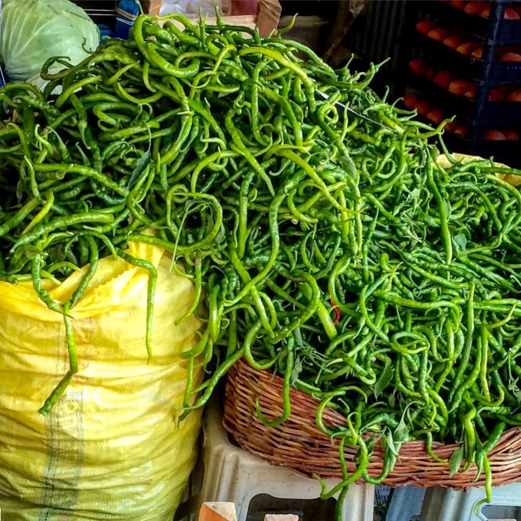 Curly peppers at t he Kadinlar Pazari , the women's market