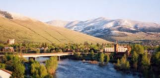 Missoula Montana downtown over Clark Fork River