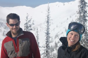 bri and rob - yurt ski in british columbia - on the horizon line