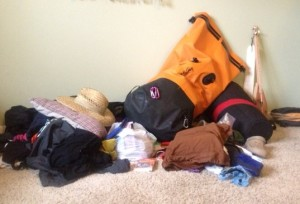 brianna's pile and travel backpack - sailing on the horizon line