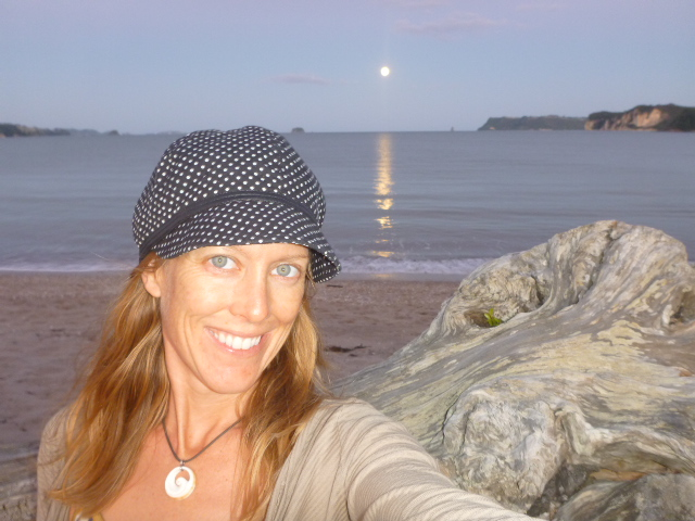 February full moon in Whitianga, New Zealand. On the Horizon Line with Brianna Randall on the beach.