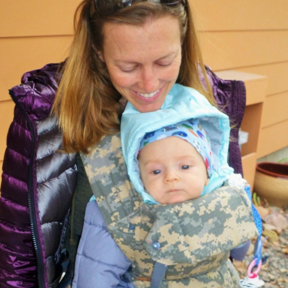 bri and talon on walk in parka 2.5 months