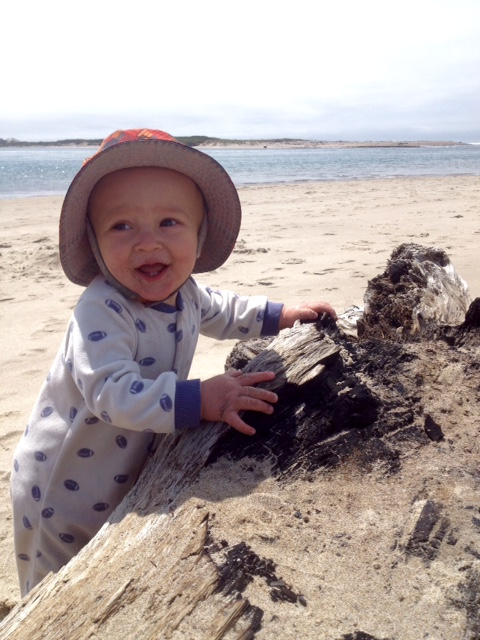 talon playing in sand on oregon coast - adventures in parenting