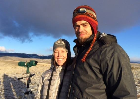 Rob and Bri bundled up to watch sage grouse go 'bloop.'