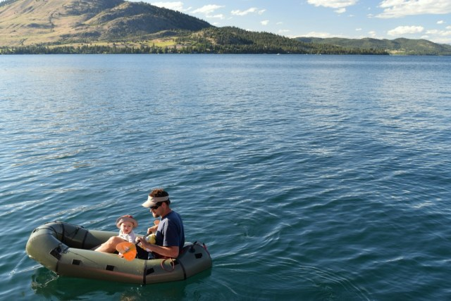 Alpaca raft as a dinghy for our sailboat on Flathead Lake.