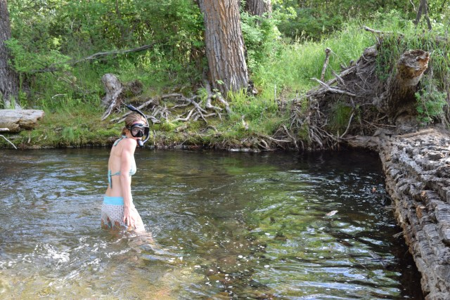 Bri snorkeling in rivers - brianna randall, photo by rob roberts