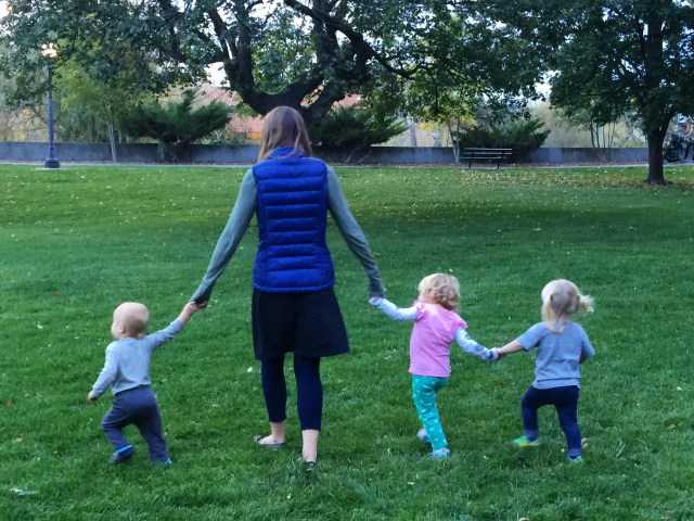 Brianna Randall walking in Missoula with little kiddos