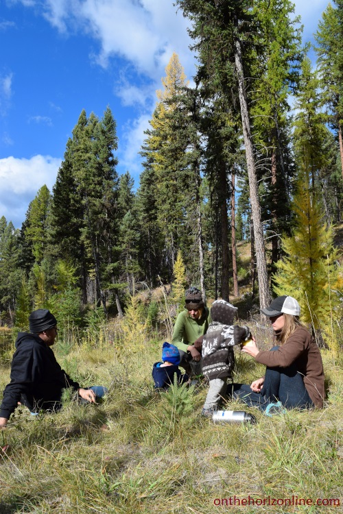 A brief picnic during our mushroom-hunting hike around Tally Lake in Montana.