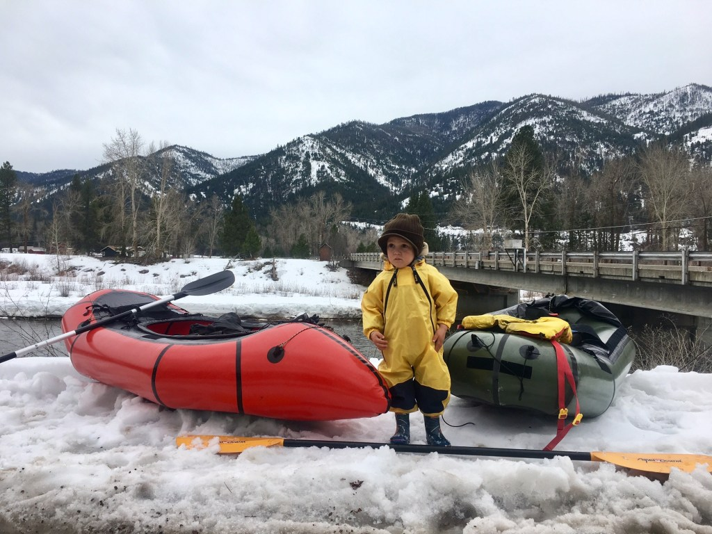 talon in snow with packrafts on clark fork river 2