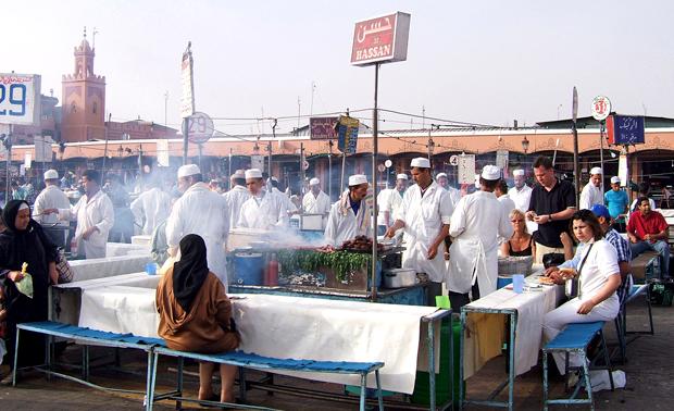 Food stalls in the Djema al Fna in Marrakesh