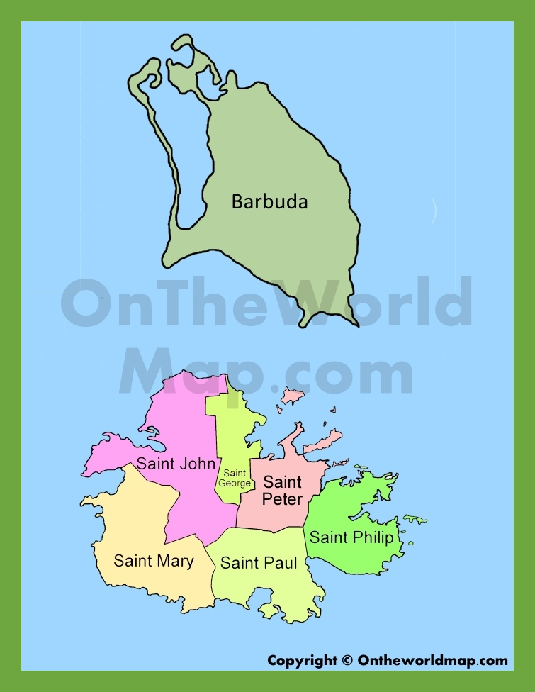 map of antigua barbuda
