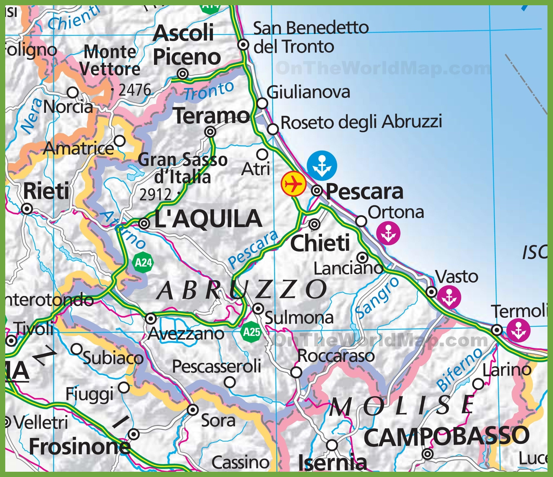 map of abbruzzo