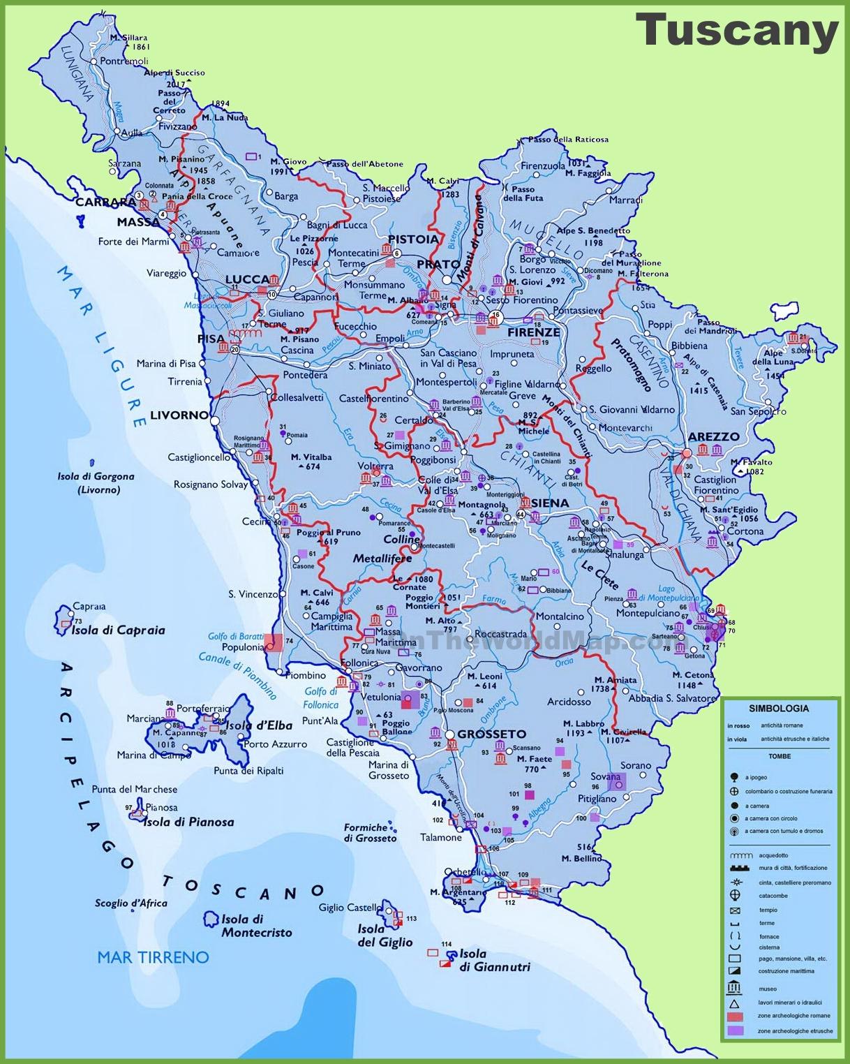 map tuscany umbria