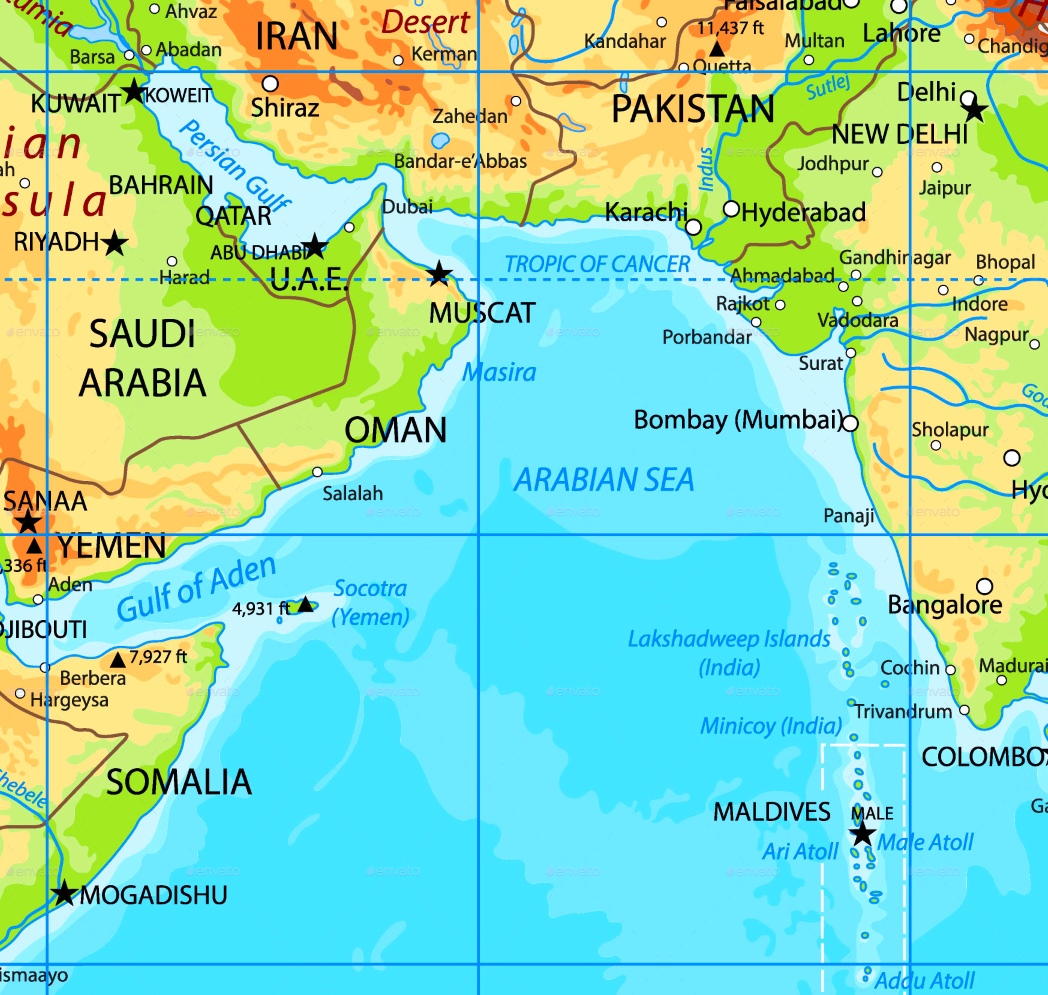 map of arabian sea